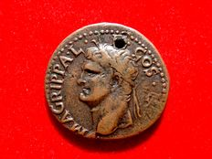 Roman Empire - Agrippa (+12 B.C.) bronze as (10,50 g. 28 mm.), Rome mint, struck under Caligula 37-41 AD. S - C, Neptune. RIC I 58.