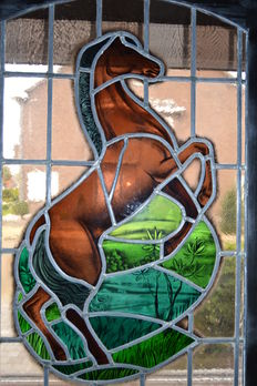 Beautiful old Brussels hang window with contrasting colours-mouth-blown glass in lead-with blackened wood frame