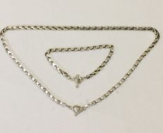 925 silver necklace and bracelet with fantasy links - 46.5 cm + 19.5 cm