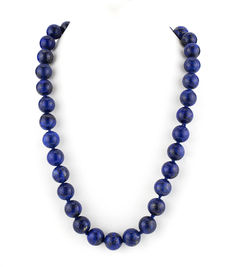Lapis lazuli necklace with silver spring ring clasp