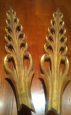 Two processional wooden palm leaves - Italy - second half 19th century.