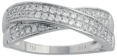 18Kt. White gold cross band  wedding ring with round diamonds 0.33ct, GH colour and SI clarity set in a Intricate channel setting Size 54/N/17.1mm (free resizing in Antwerp available)