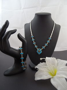 Silver 925k set with turquoise stones, length 46 & 20 cm
