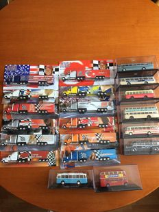 Atlas - Scale 1/72-1/87 - Lot with 8 various busses and 12 Trucks to transport the F1 cars of Michael Schumacher