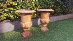 Two cast-iron Louvre jardinières / planters with beautiful rusty patina