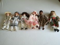6 porcelain dolls; 2 from The Classique Collection