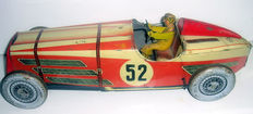 Rossignol, France - Length: 38 cm - Sheet metal racing car powered by clockwork - 30s