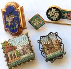 Souvenirs of the Grand Tour: 5x micromosaic items - Italy, second half of the 19th C