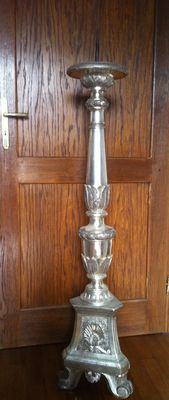 Large silver mecca plating wood candelabrum - Italy - first  half XIX century.