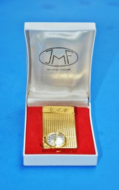 Swiss JMF JUFREX Lighter with 17 Jewel Watch/Clock, Gold Plated - Early to Mid 20th Century