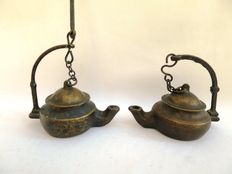 Bronze oil lamps
