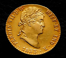 Spain – Fernando VII – 2 escudos doubloon – 1833 – Madrid AJ – gold