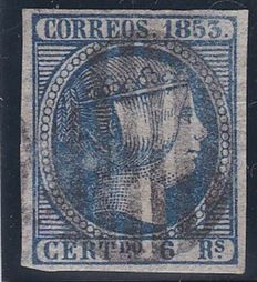 Spain 1853 – Isabel II 6 reales blue with CMF certificate  – Edifil  # 21