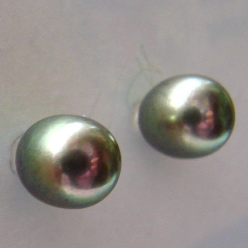 Yellow gold  585 (14ct) earrings with cultured Tahitian pearls  measuring 9mm/7mm  in diameter