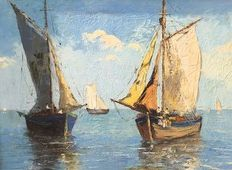 George.Lapchine (1885 - 1950) - Mediterranean seascape with fishingboats