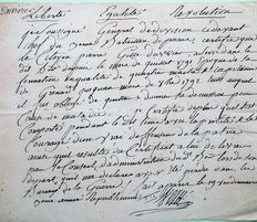 Handwritten autograph letter of the General VEZU, army of Bonaparte in 1794