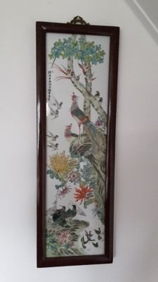 Tile panel of flowers and birds - China - approx. 1970