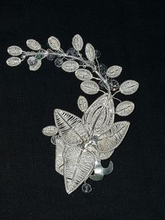 Designer Cristina Palacios – Bridal headdress – silver embroidery by hand and lost-wax smelting – Mexican silver collection
