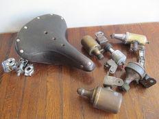 Brooks B66 leather saddle and 5 vintage bicycle dynamos, various brands
