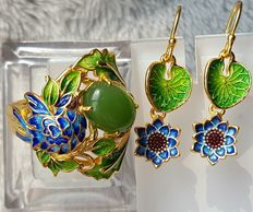 Enamel sterling Silver ring and earrings,,Weight : approx :9.2 g (2)