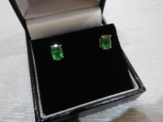 18k Gold Emerald Stud Earrings - 1.60ct