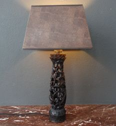 Richly decorated openwork wooden shaded lamp - Bali - Indonesia