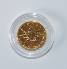 "Australia – 5 dollars 2009 ""Maple Leaf"" – 1/10 oz of gold."