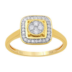 new ring in a halo cluster. 0.25ct total weight round diamonds set in 18kt yellow gold. GH colour and Pique clarity. Size M 1/2