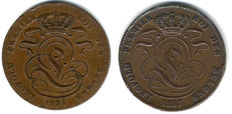 Belgium – 5 centimes 1834 and 1857 Leopold I