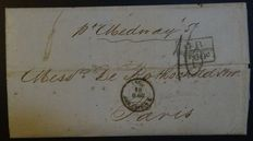 Transatlantic letter, 1857, from Bahia (Brazil) to Paris - Certificate