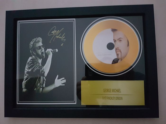 George Michael Beautiful Signed Picture Framed Gold Disc Framed