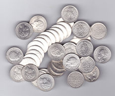 The Netherlands – 25 cents up to 1944, Wilhelmina (40 pieces) – silver.