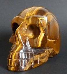 Lovely hand-crafted Tiger's Eye skull - 10.1 x 7.9 cm - 633gm