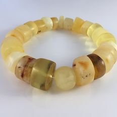 Baltic amber bracelet, white egg yolk color doughnut shape  beads, 49.5 gr, 100% natural Baltic amber: not pressed, modified or melted