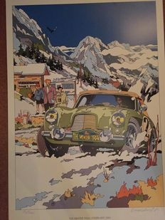 Aston Martin in action in WINTER TRIAL 2001, signed & numbered 80/300