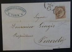 Italy, 1864 - 30 cents, dark brown, cancelled on letter from Turin to Pinerolo (cancellation with 4 letters for the month) worth 6 points - Sass.  no. L19