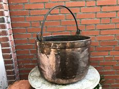 A big heavy copper kettle with wrought iron handle-Netherland- late 19th century