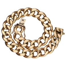 Yellow gold curb bracelet of 14 kt, length 21 cm