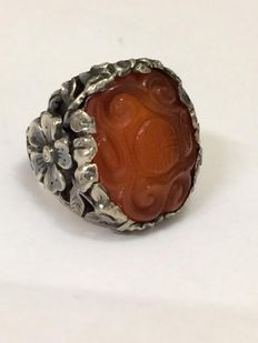 Silver ring with carnelian – the Far East – Ring size: 18 mm, adjustable