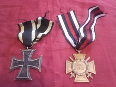 """2 World War 1 Badges: """"Chamber piece"""" Iron Cross, 2nd class, WW1, with ribbon and ring and hallmark; and """"Combatant's cross of honour"""" with ribbon and rare manufacturer"""