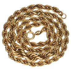 Yellow gold rope link necklace in 14 kt - 50 cm