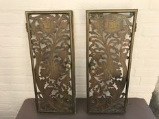 Set of two beautifully open work sawn bronze doors-France-19th century