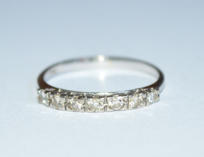 White Gold Half Eternity Wedding Ring Set With 7 Diamonds Brilliant Cut Of