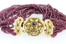 Garnet necklace with antique Zealand gold clasp