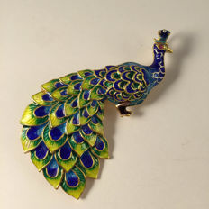 925 silver gilded cloisonné  enameled brooch of a peacock, no reserve price