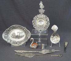 Silver collection, with silver-plated and gilded cutlery set, Holland, 20th century