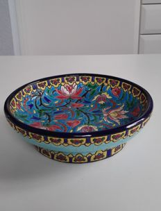Emaux de Longwy - Bowl on foot decorated with exotic flowers