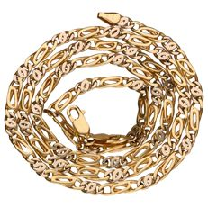 Yellow gold, curb link necklace of 14 kt, length: 60 cm.