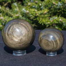 Gold Obsidian spheres - 80mm - 675 grams and 61mm - 268gm  (2)