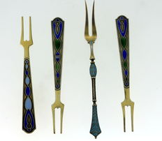 Three Russian Silver Enameled Forks, One Sterling Silver Enameled Fork (Birmingham 1894)